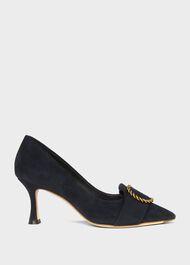 Eliza Suede Court Shoes, Navy, hi-res