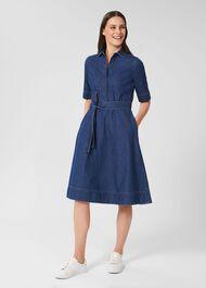 Fern Fit And Flare Denim Dress, Blue, hi-res