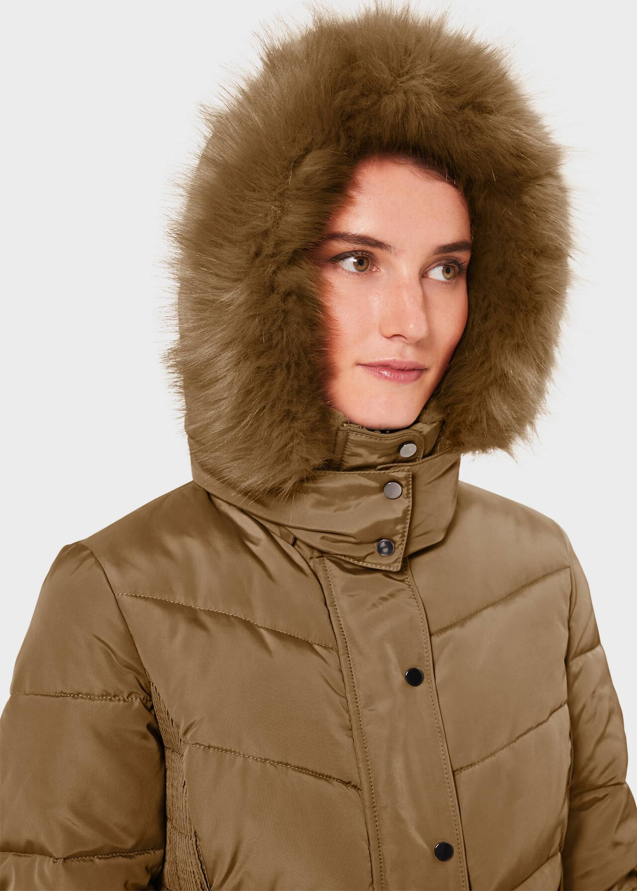 Petite Lilian Puffer Jacket With Hood, Camel, hi-res