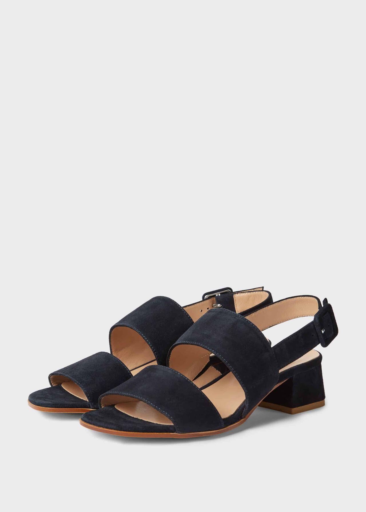 Claudia Suede Block Heel Sandals Navy