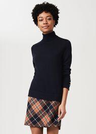 Elea Wool Check A Line Skirt, Orange Camel, hi-res