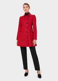 Odette Wool Coat, Red, hi-res