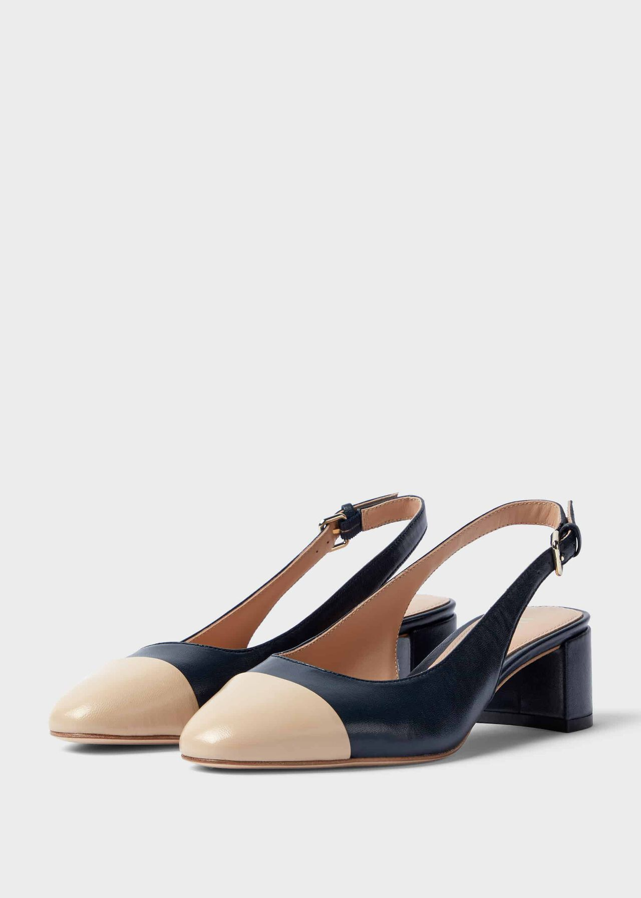 Emily Leather Block Heel Slingback Court Shoes Navy