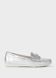 Emily Leather Moccasins, Metallic, hi-res