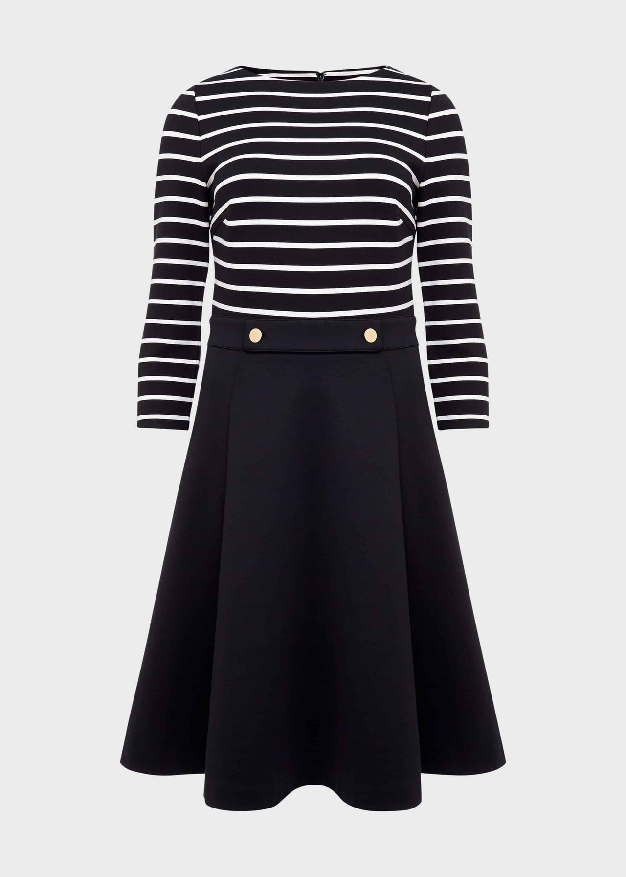 Caris Stripe Jersey Dress Navy Ivory