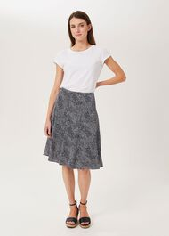Inez Printed Skirt, Navy Ivory, hi-res