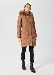 Dita Puffer Jacket With Hood, Camel, hi-res