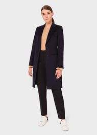 Tilda Wool Collar Coat, Navy, hi-res