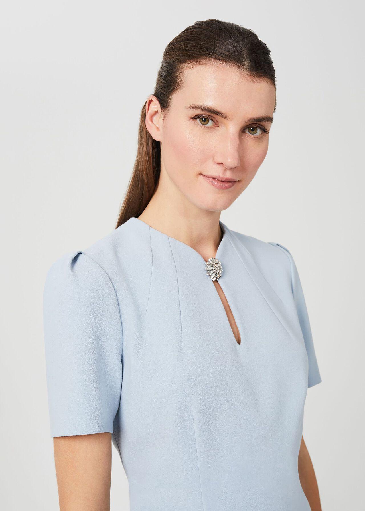 Ana Crepe Shift Dress, Celeste Blue, hi-res