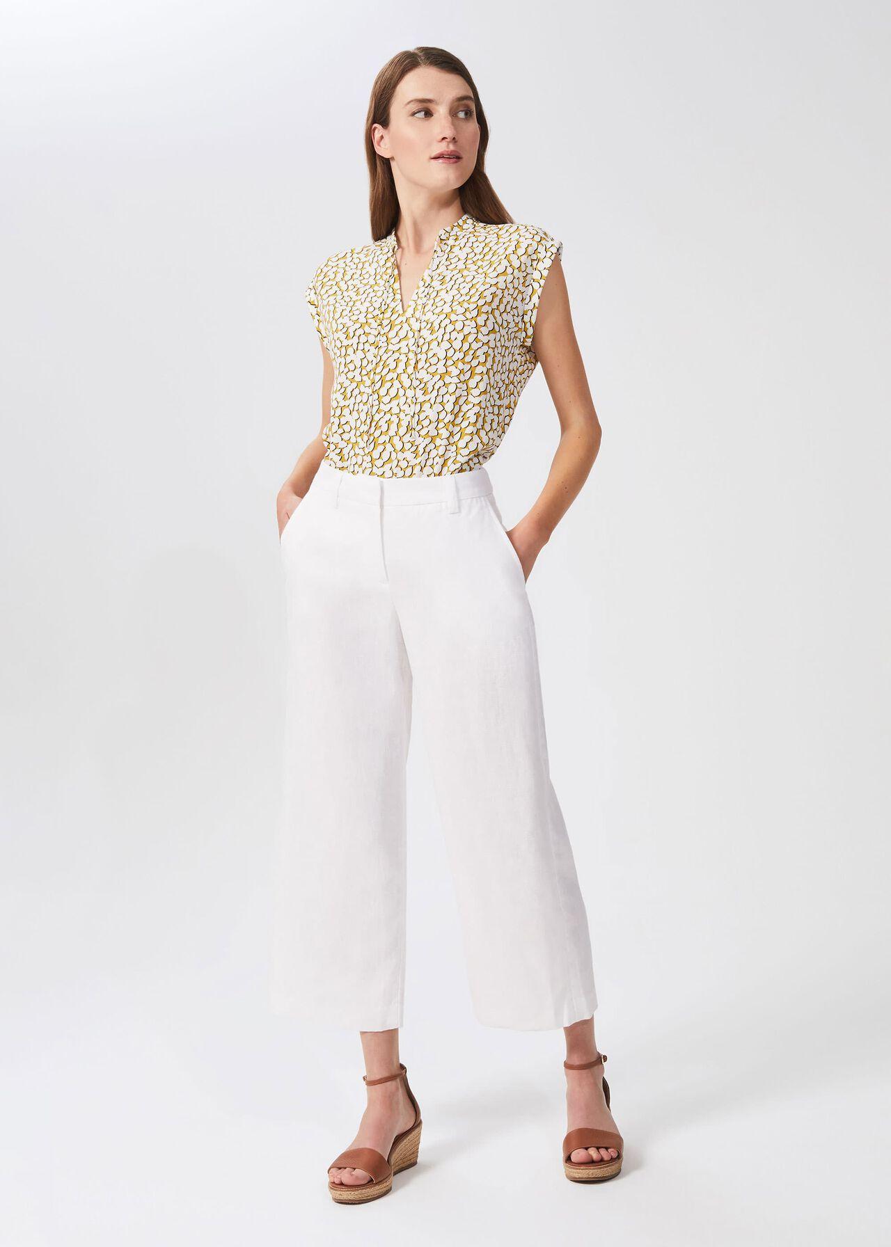 Nicole Linen Wide Leg Trousers, White, hi-res