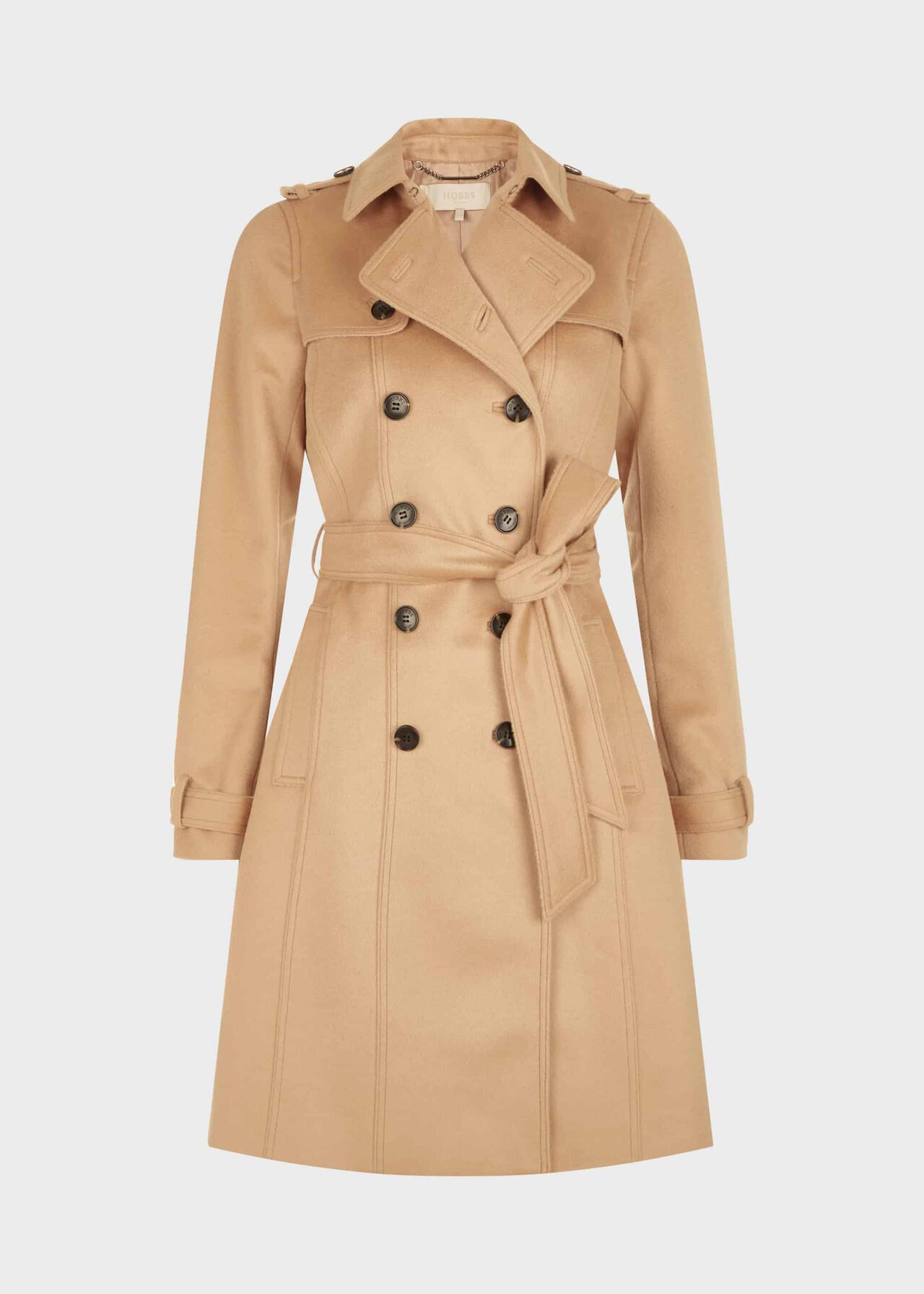 Wool Saskia Trench Coat Camel