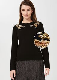 Louise Embroidered Sweater, Black Gold, hi-res