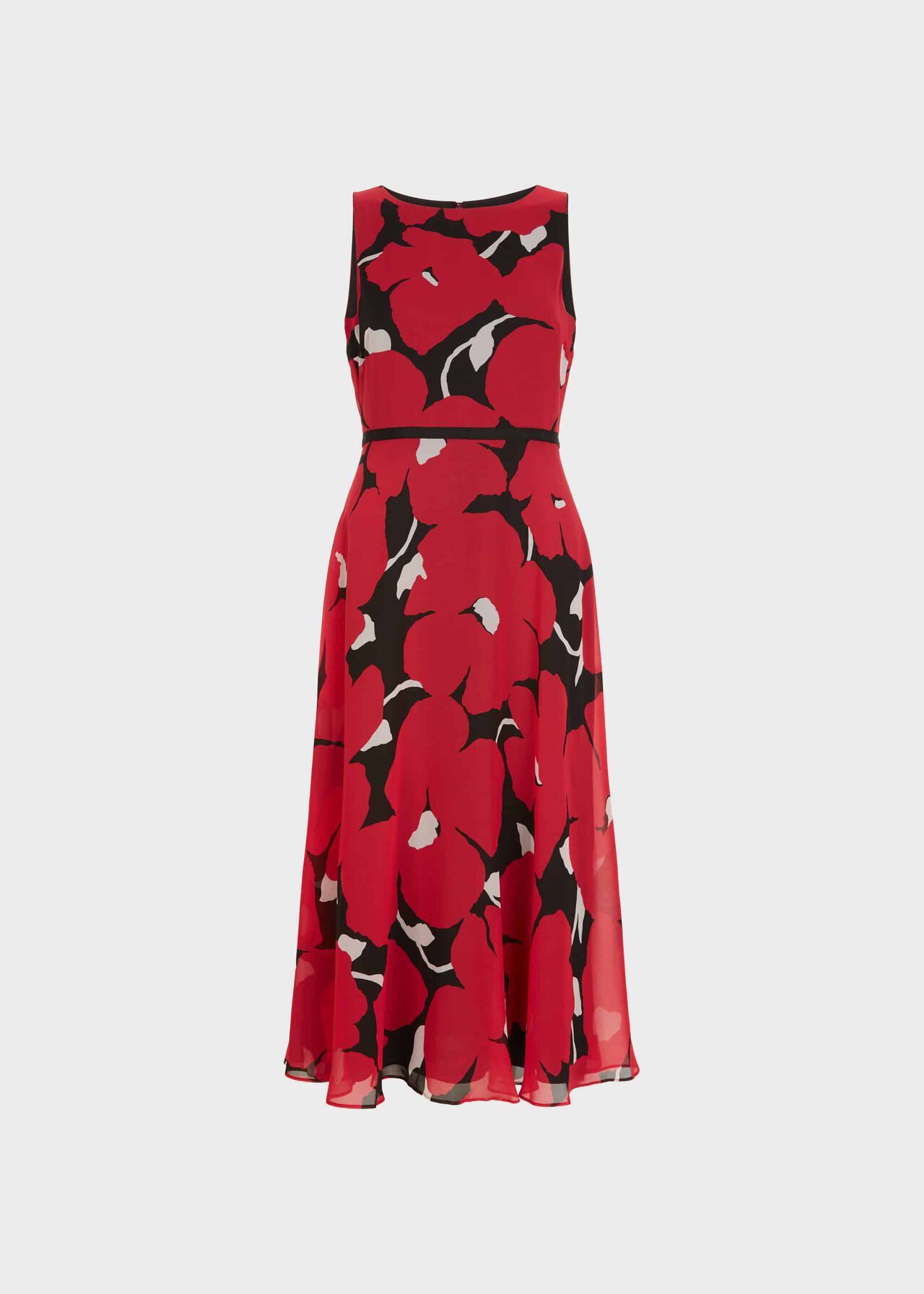 Carly Floral Midi Dress Black Pink