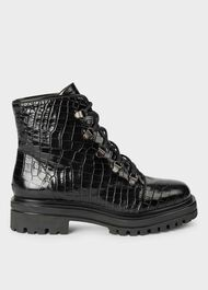 Jamie Crocodile Hiker Boots, Black Croc, hi-res