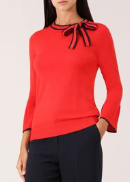 Jess Wool Blend Sweater, Red Navy, hi-res