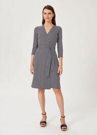 Delilah Jersey Wrap Dress, Navy Ivory, hi-res
