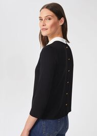 Sasha Button Back Top, Black Ivory, hi-res