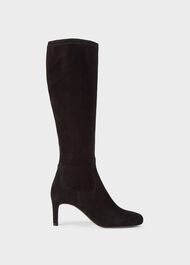 Lizzie Suede Stretch Knee High Boots, Black, hi-res