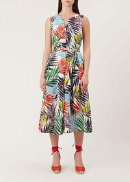 Amalfi Linen Dress, Coral Multi, hi-res