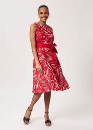 Bea Linen Printed Dress, Raspberry, hi-res