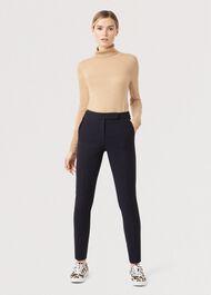 Petite Leila Slim Trouser, Navy, hi-res