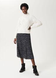Annette Printed Midi Skirt, Black Ivory, hi-res