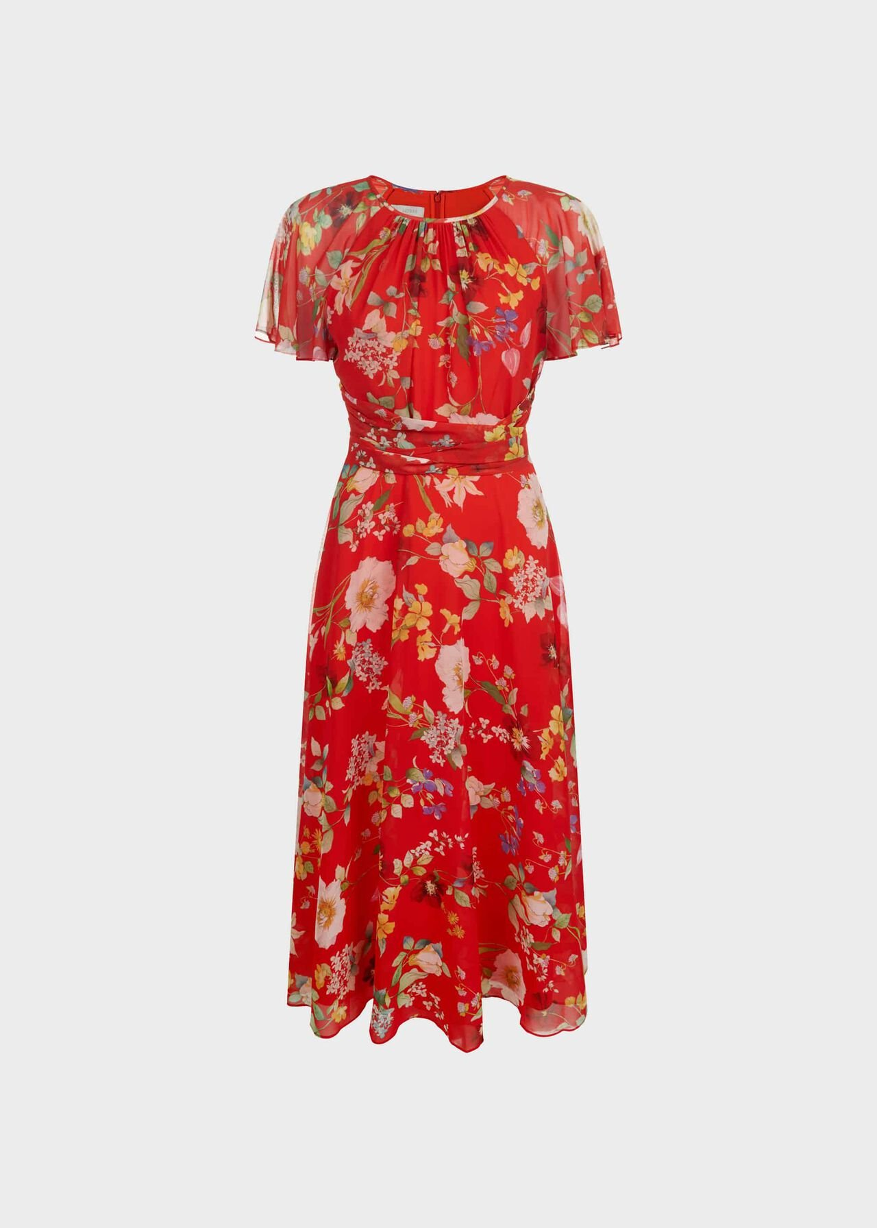 Sarah Floral Midi Dress Flame Red
