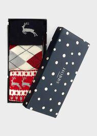 Reindeer Sock Set, Red Navy Multi, hi-res