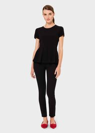 Noa Cotton Blend Top, Black, hi-res