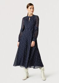 Piper Spot Midi Dress, Midnight Ivory, hi-res