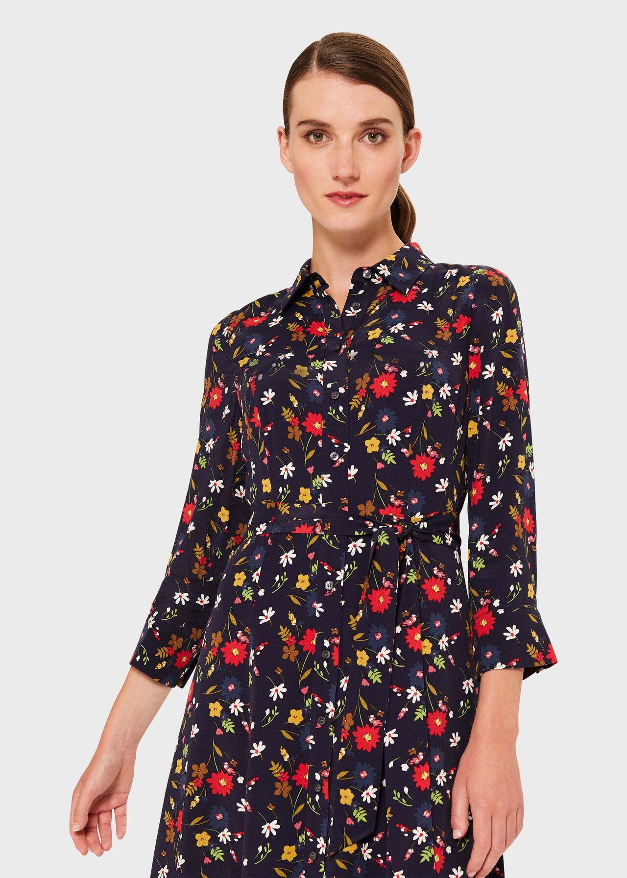 Annette Floral Midi Dress, Midnight Multi, hi-res