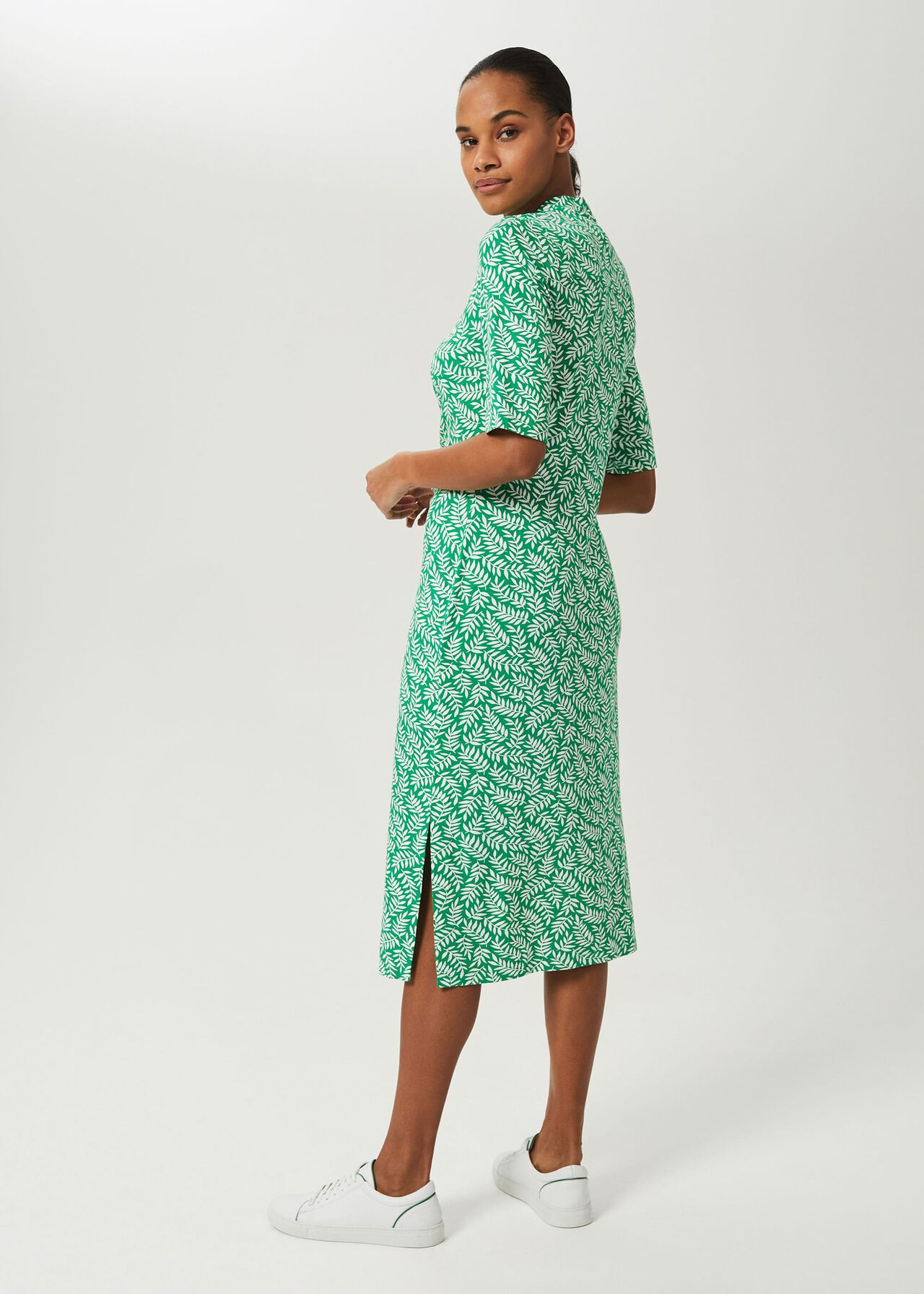 Hatty Jersey Floral Dress, Green Ivory, hi-res
