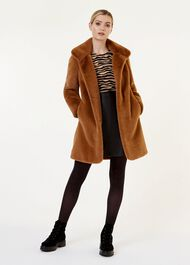 Freda Fur Coat, Mocha, hi-res
