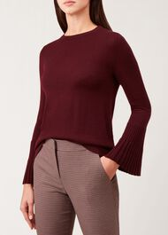 Helen Merino Wool Sweater, Burgundy, hi-res
