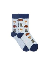 Dog All Over Sock, Blue Multi, hi-res