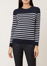 Striped Penny Merino Wool Sweater, Navy Ivory, hi-res