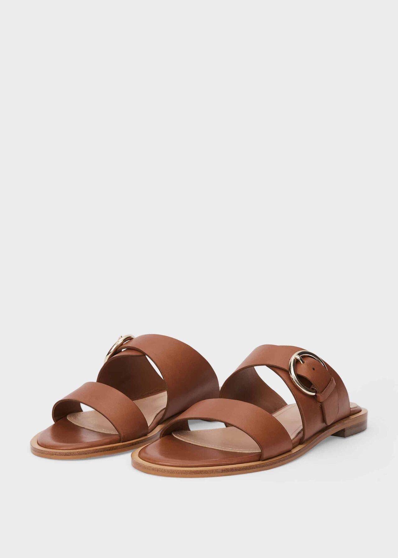 Sienna Leather Sandals , Tan, hi-res