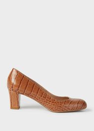 Amber Crocodile Print  Block Heel Court Shoes, Natural, hi-res
