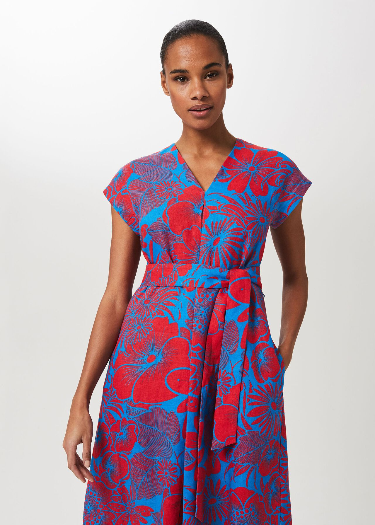 Etty V Neck Midi Dress, Red Azure Blue, hi-res