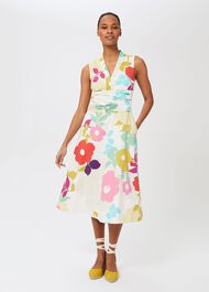 Marie Floral Midi Dress, White Multi, hi-res