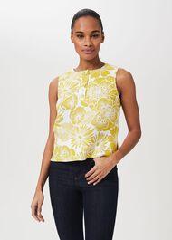 Gayle Linen Floral Top, Chartreuse Whte, hi-res