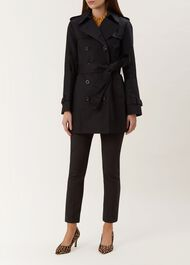 Short Sara Trench Coat, Black, hi-res