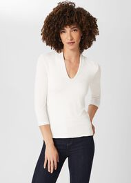Aimee Double Fronted Top, Ivory, hi-res