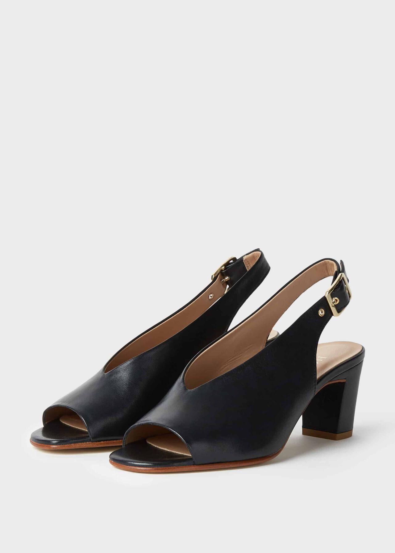 Kali Leather Block Heel Sandals Navy