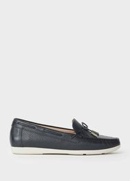 Emily Leather Moccasins, Navy, hi-res