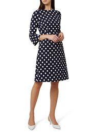 Spot Print Magnolia Dress, Navy Ivory, hi-res