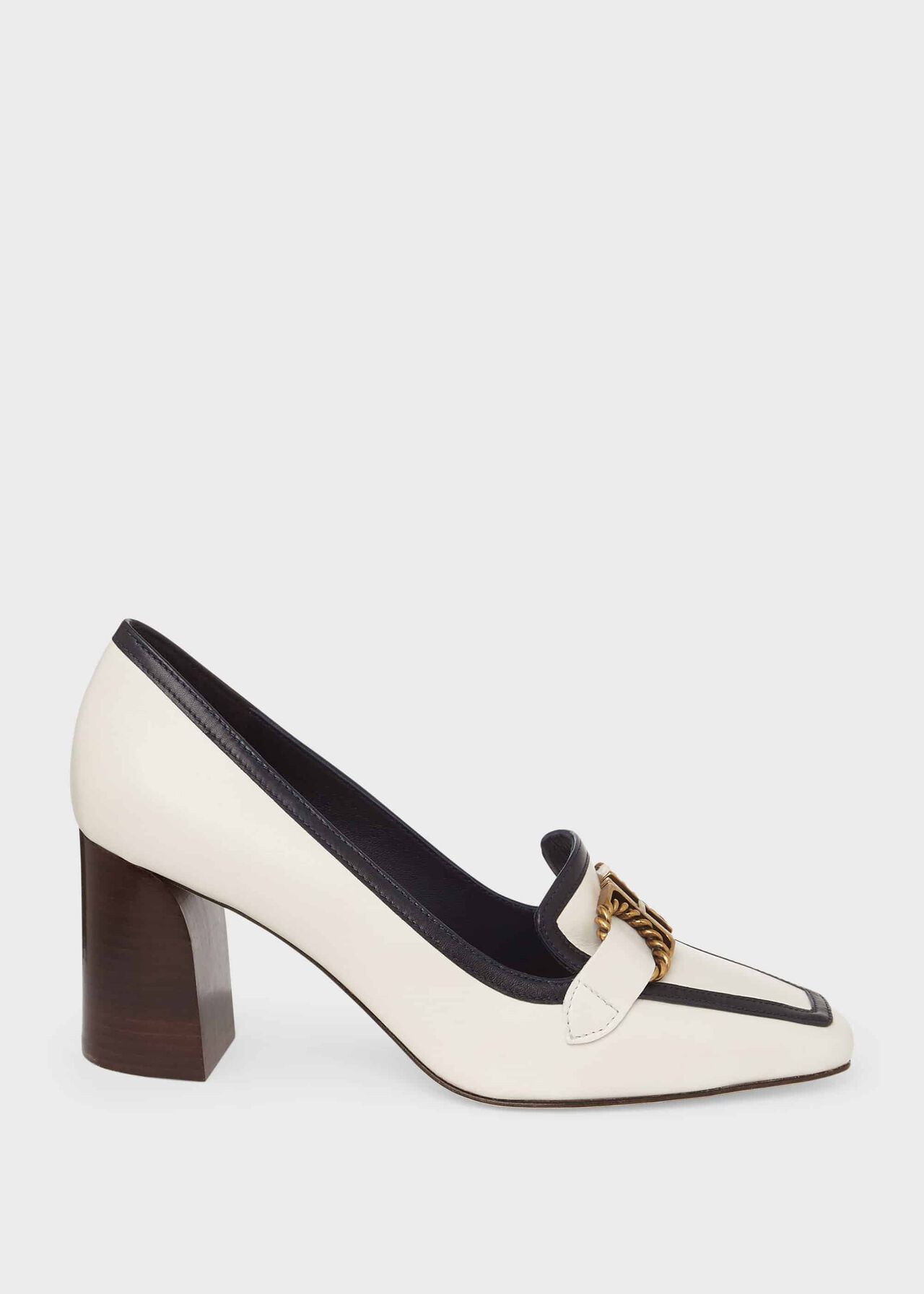 Melinda Leather Court Shoes, Coconut, hi-res