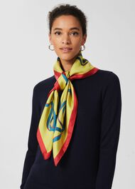 Whippet Silk Scarf, Yellow Ivory, hi-res