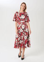 Bella Floral Print Satin Dress, Red Multi, hi-res