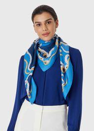 Elizabeth Silk Scarf, Blue, hi-res